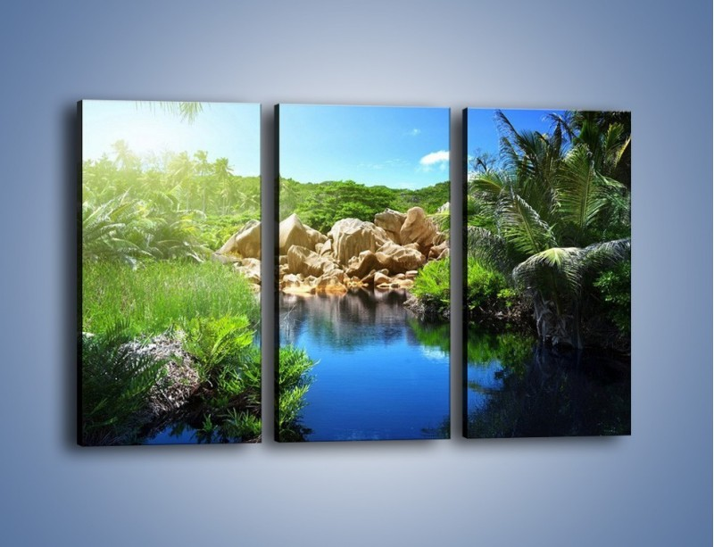 Obraz na płótnie – Wapienne skałki na wodzie – trzyczęściowy KN1188AW2