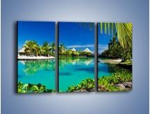 Obraz na płótnie – Biały piasek i palmy – trzyczęściowy KN1201AW2