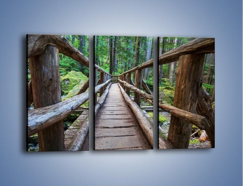 Obraz na płótnie – Mostek z drewnianych bali – trzyczęściowy KN1207AW2
