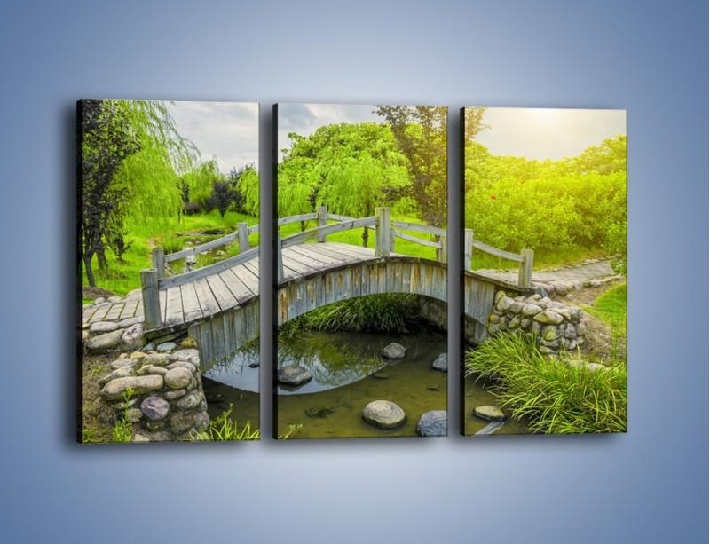 Obraz na płótnie – Mały mostek przez rzeczkę – trzyczęściowy KN1254AW2