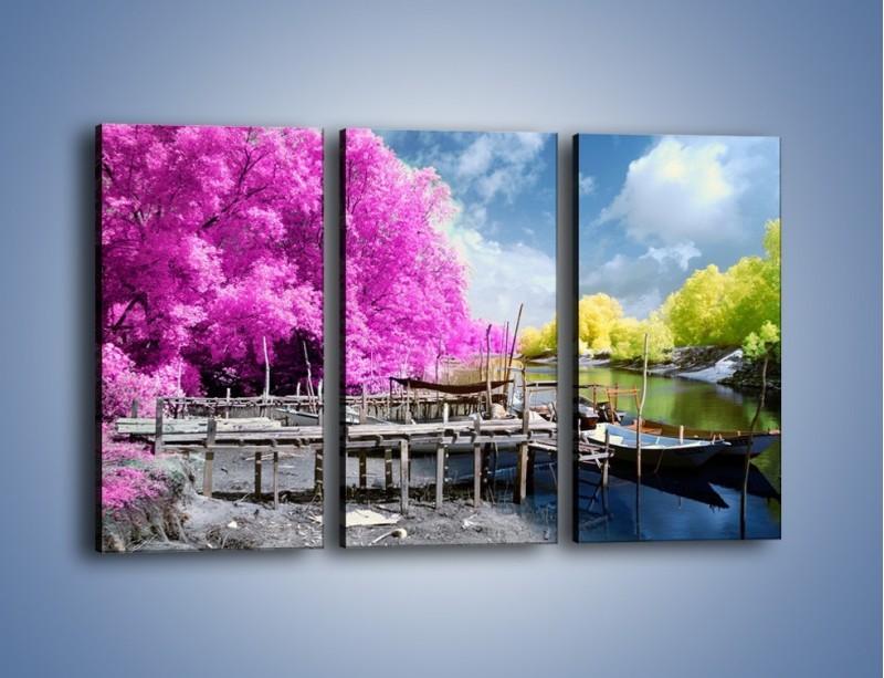 Obraz na płótnie – Wyraźne kolory w szarym tle – trzyczęściowy KN1334AW2