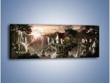 Obraz na płótnie – Domki nad przepaścią – jednoczęściowy panoramiczny GR283