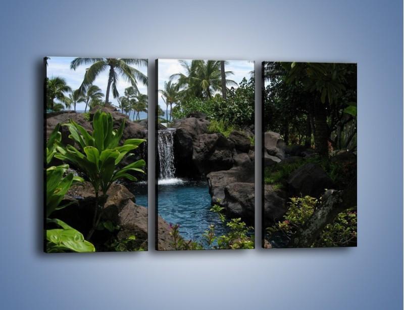 Obraz na płótnie – Wodospad wśród palm – trzyczęściowy KN208W2