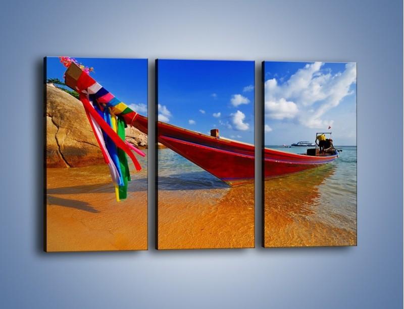 Obraz na płótnie – Kolorowa łódź na brzegu – trzyczęściowy KN415W2