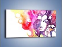 Obraz na płótnie – Barwy w otoczeniu kobiety – jednoczęściowy panoramiczny GR296