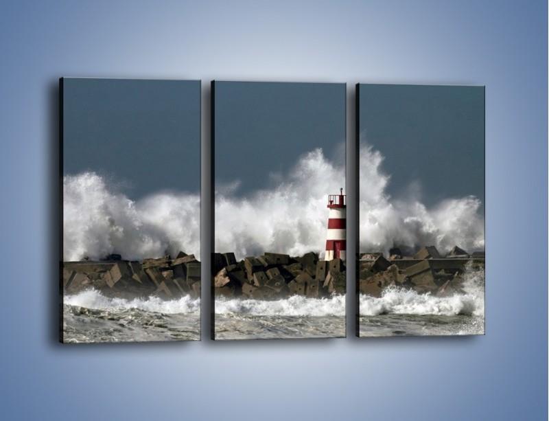 Obraz na płótnie – Latarnia morska w sztormie – trzyczęściowy KN626W2