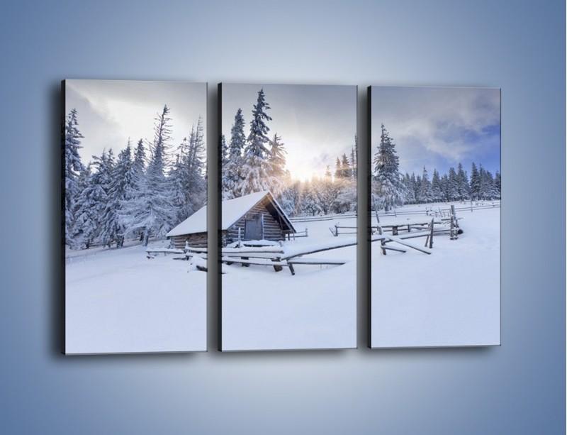 Obraz na płótnie – Chatka zatopiona w śniegu – trzyczęściowy KN696W2