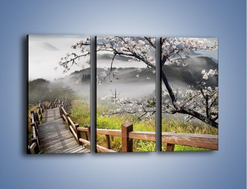 Obraz na płótnie – Drzewo wiśni i kręte schody – trzyczęściowy KN698W2