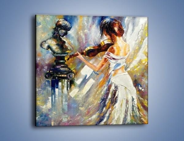 Obraz na płótnie – Biała dama i skrzypce – jednoczęściowy kwadratowy GR368