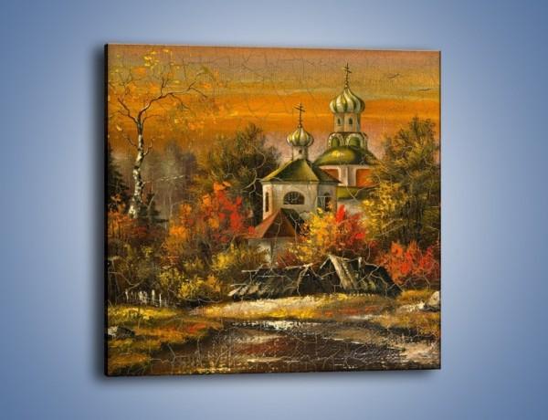 Obraz na płótnie – Kaplica późną jesienią – jednoczęściowy kwadratowy GR369