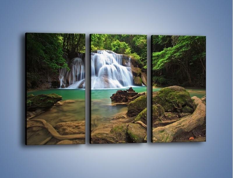 Obraz na płótnie – Drzewa schowane za wodospadem – trzyczęściowy KN792W2