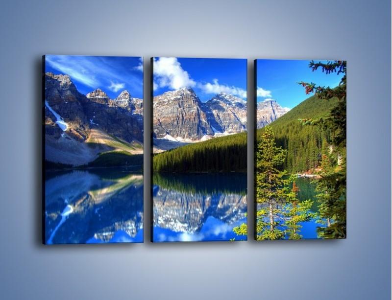 Obraz na płótnie – Góry i ich wodne odbicie – trzyczęściowy KN839W2