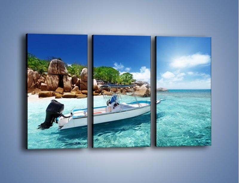 Obraz na płótnie – Błękit w wodzie i niebie – trzyczęściowy KN852W2