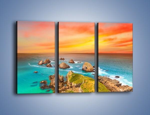 Obraz na płótnie – Kolory rozpalonego nieba nad wodą – trzyczęściowy KN879W2