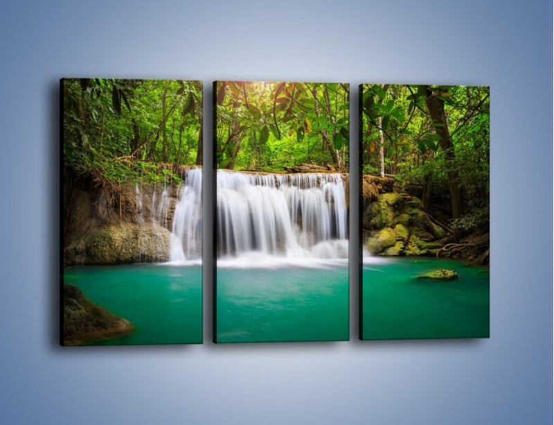Obraz na płótnie – Kąpiel w środku lasu – trzyczęściowy KN995W2
