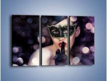 Obraz na płótnie – Dziewczyna w czarnej masce – trzyczęściowy L030W2