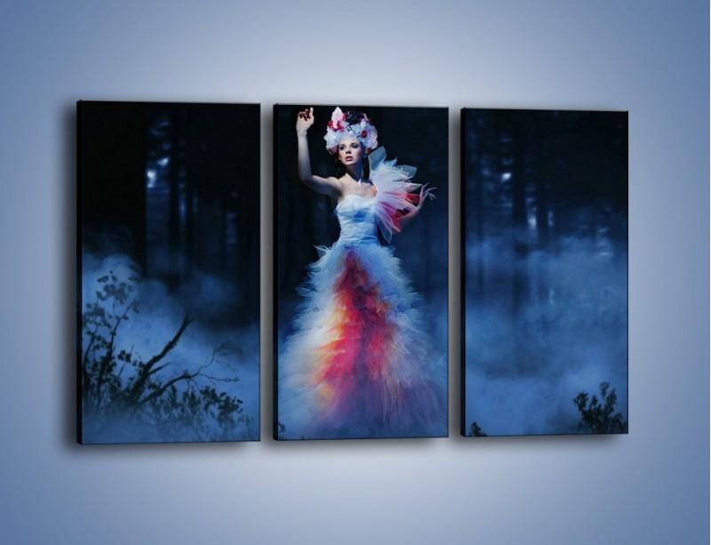 Obraz na płótnie – Biała księżniczka w ponurym lesie – trzyczęściowy L102W2