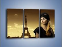 Obraz na płótnie – Czarna dama w paryżu – trzyczęściowy L114W2