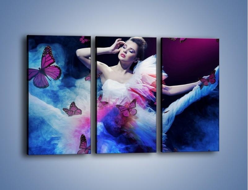 Obraz na płótnie – Bajkowy spacer z motylami – trzyczęściowy L127W2