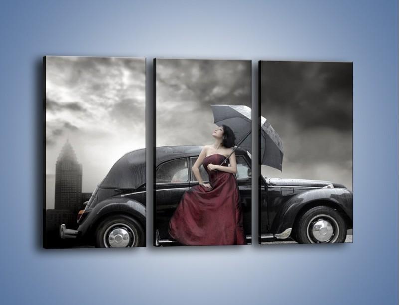 Obraz na płótnie – Dama pod parasolem – trzyczęściowy L139W2