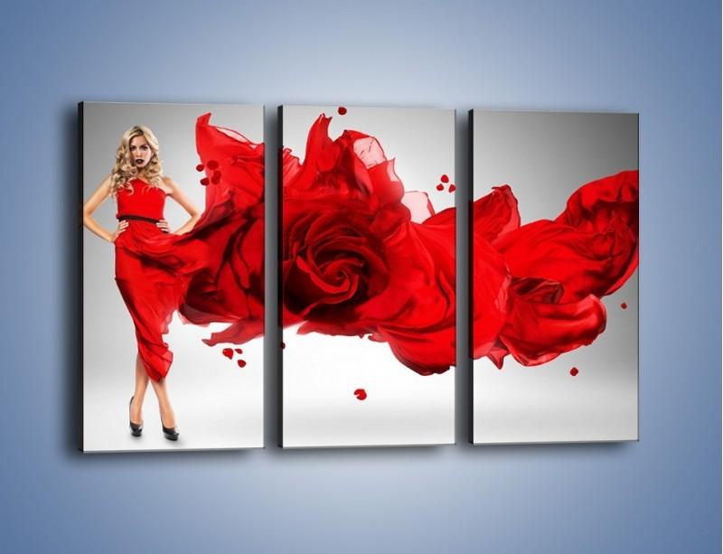 Obraz na płótnie – Czerwona róża i kobieta – trzyczęściowy L144W2