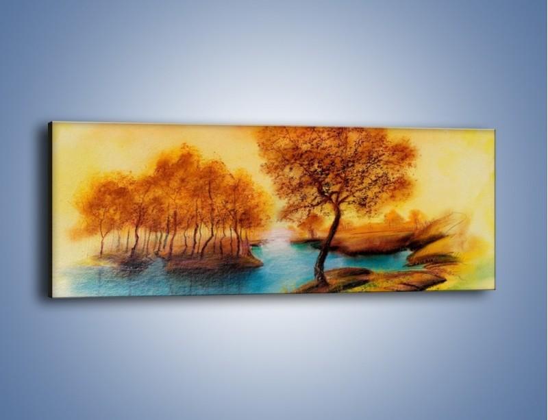 Obraz na płótnie – Drzewa nad samą wodą – jednoczęściowy panoramiczny GR352