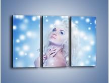 Obraz na płótnie – Biała dama i światełka – trzyczęściowy L318W2