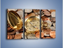 Obraz na płótnie – Kompas zatopiony w monetach – trzyczęściowy O089W2