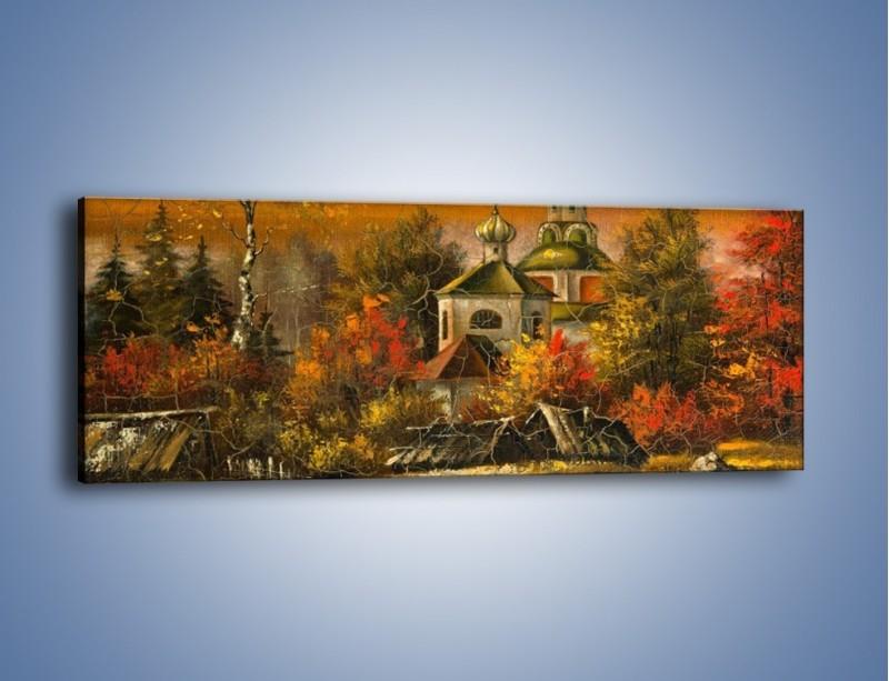 Obraz na płótnie – Kaplica późną jesienią – jednoczęściowy panoramiczny GR369