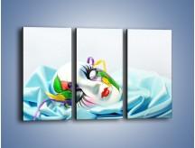 Obraz na płótnie – Kolorowa maska na błękicie – trzyczęściowy O180W2