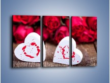 Obraz na płótnie – Dwa idealnie pasujące serca – trzyczęściowy O211W2