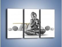 Obraz na płótnie – Budda wśród szarości – trzyczęściowy O220W2