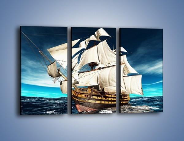 Chłodny Obraz na płótnie – Statek na morzu – trzyczęściowy TM020W2 JR71