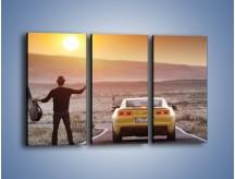 Obraz na płótnie – Chevrolet Camaro na pustynnej drodze – trzyczęściowy TM080W2