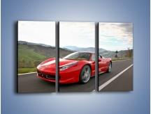 Obraz na płótnie – Czerwone Ferrari 458 Italia – trzyczęściowy TM194W2