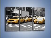 Obraz na płótnie – Amerykańskie taksówki w korku ulicznym – trzyczęściowy TM219W2
