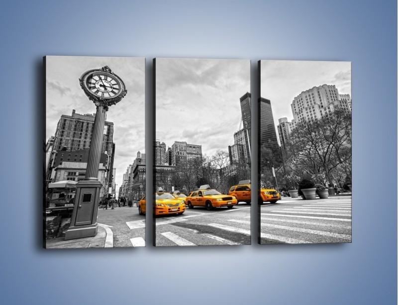 Obraz na płótnie – Żółte taksówki na szarym tle miasta – trzyczęściowy TM225W2