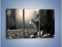 Obraz na płótnie – Jeleń w sepii – trzyczęściowy Z250W2