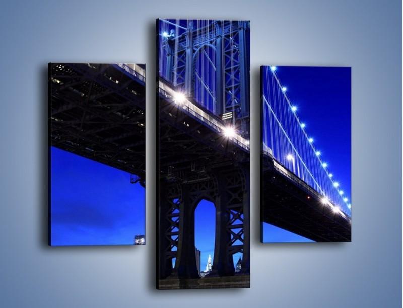 Obraz na płótnie – Oświetlony most wieczorem – trzyczęściowy AM003W3