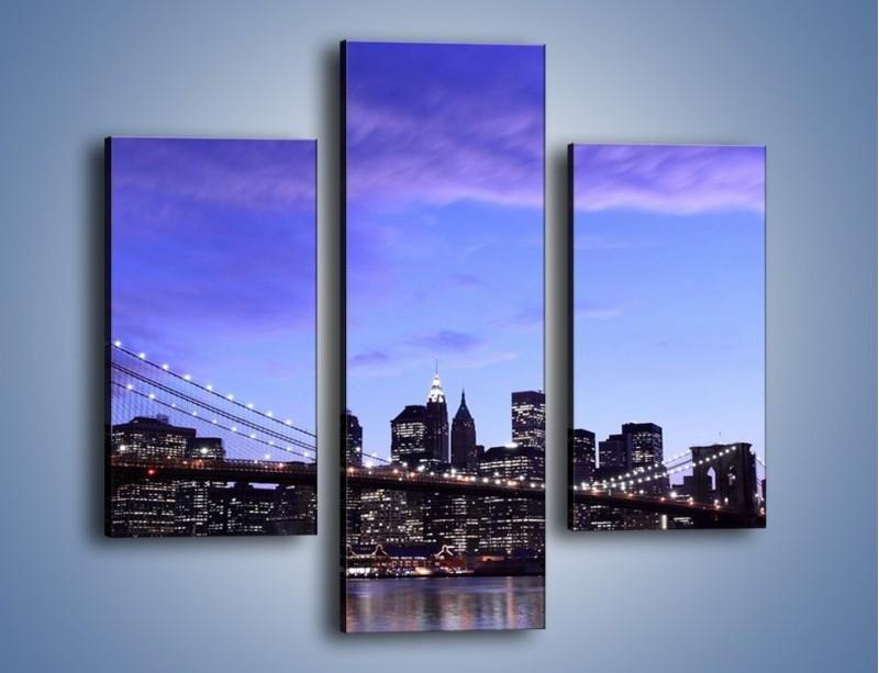 Obraz na płótnie – Most Brookliński przed zmierzchem – trzyczęściowy AM016W3