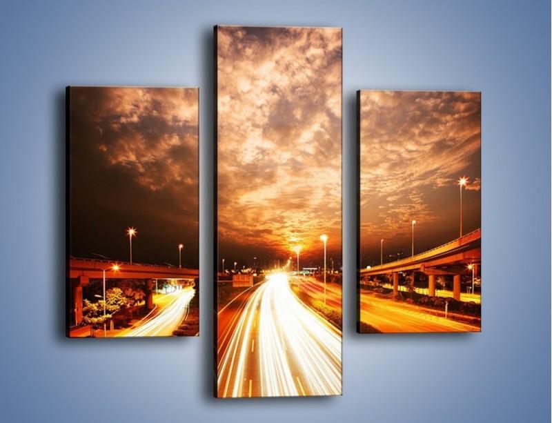 Obraz na płótnie – Oświetlona autostrada w ruchu – trzyczęściowy AM021W3