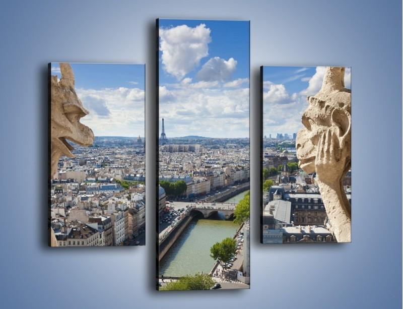 Obraz na płótnie – Kamienne gargulce nad Paryżem – trzyczęściowy AM037W3