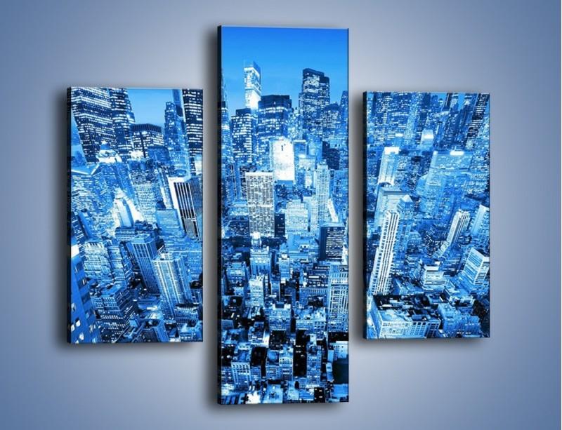 Obraz na płótnie – Centrum miasta w niebieskich kolorach – trzyczęściowy AM042W3