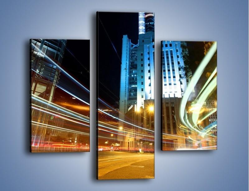 Obraz na płótnie – Światła w ruchu ulicznym – trzyczęściowy AM048W3