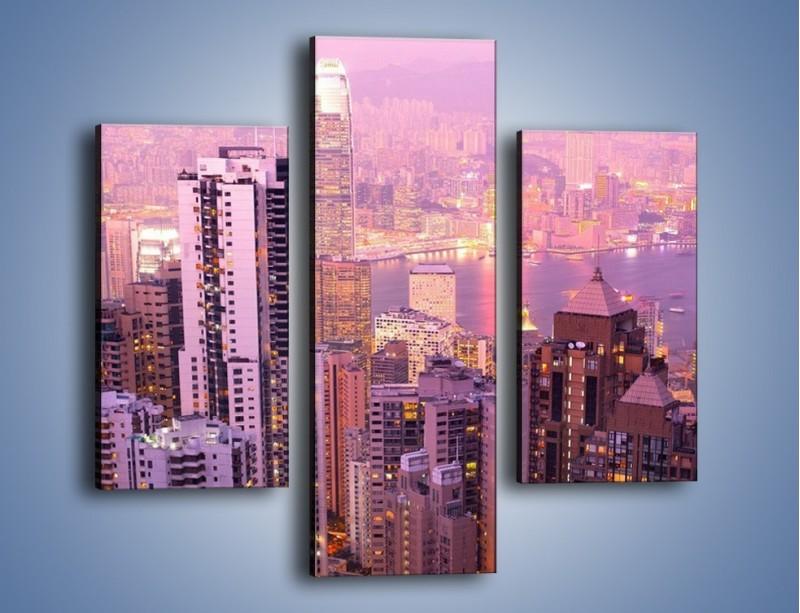 Obraz na płótnie – Duże miasto budzące się o poranku do życia – trzyczęściowy AM062W3