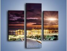 Obraz na płótnie – Błysk światła nad miastem wieczorową porą – trzyczęściowy AM063W3