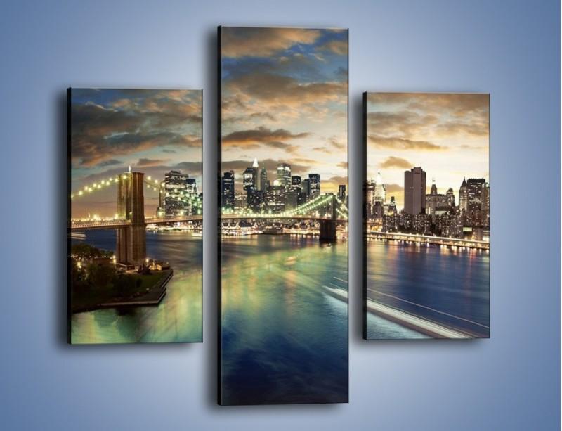 Obraz na płótnie – Oświetlony most w Nowym Jorku – trzyczęściowy AM066W3