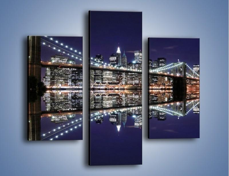Obraz na płótnie – Most Brookliński w lustrzanym odbiciu wody – trzyczęściowy AM067W3