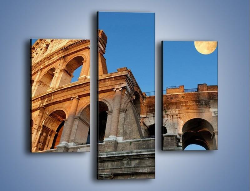Obraz na płótnie – Pełnia księżyca nad Koloseum – trzyczęściowy AM069W3