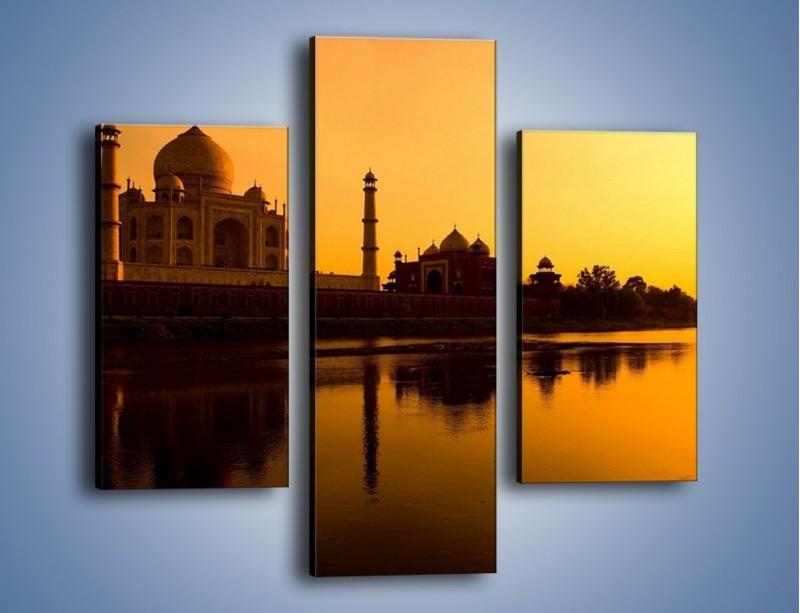 Obraz na płótnie – Taj Mahal o zachodzie słońca – trzyczęściowy AM075W3